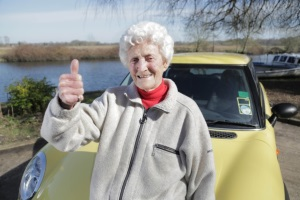 Eileen Ash, driving safely aged 105!
